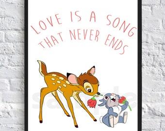 Bambi, Disney, Wall Art Print, Digital Download