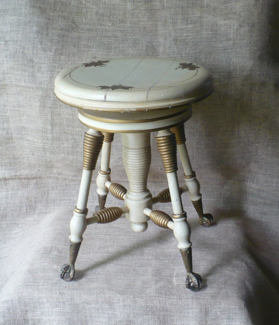 Antique Piano Stool Claw Foot Adjustable Stool