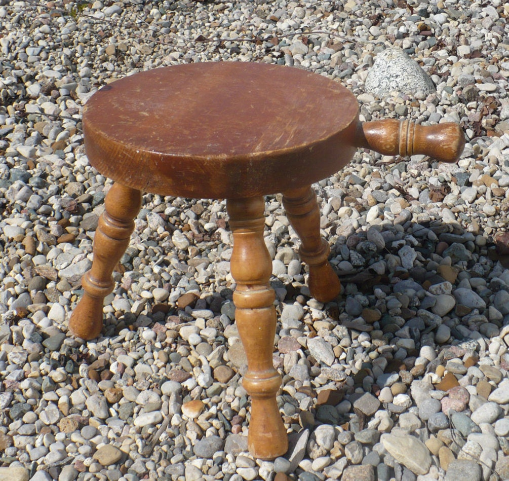Vintage Three Legged Stool Wooden Milking Stool