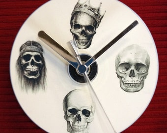 FOUR SKULLS CD Clock (Can be Personalised)