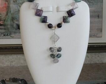 Flourite beaded necklace  -  215
