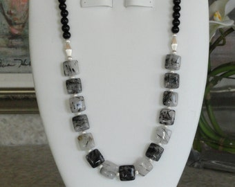 Black Onyx beaded necklace with Square Rutilated Quartz  Pendant  -  220