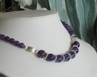 Amethyst and Agate beaded necklace  -  16