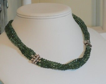 Green African Apatite beaded necklace  -  244