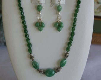 Emerald beaded necklace and earring set  -  #250