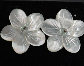 Mother of Pearl carved flower with Aquamarine bead Earrings  -  #359