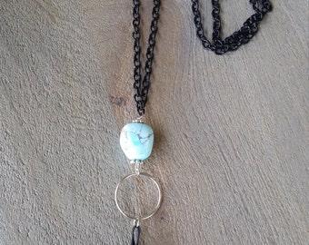 Black Tassel Marble Sky Blue Necklace