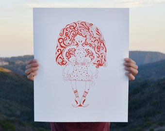 Redhead Cat Lady Screen Print
