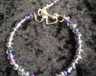 Classic crystal blue/purple/clear faceted bracelet