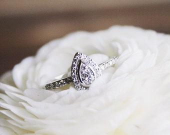 Pear Shape Diamond Engagement Ring, White Gold Tear Drop Diamond Ring, Diamond Halo Pear Shaped Ring