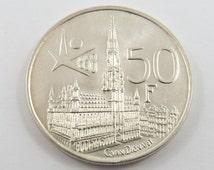 Belgium 1958 Silver 50 Francs Coin.Subject- Brussels World Fair.