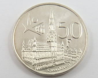 Belgium 1958 Silver 50 Francs Coin.Subject- Brussels World Fair.