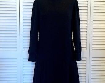 Black Drop Waist Vintage Mod Polyester Dress
