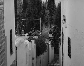Spain street photography, Granada, home decor, wall print, Europe photography, wall art, black and white photography