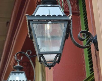 New Orleans photography, home decor, wall print, french quarter, travel photography, lantern, mardi gras beads