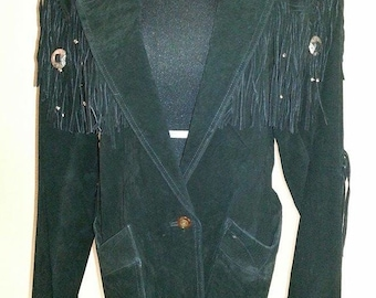 Black Suede - Fringed Jacket - Decorated Beads - Size L-Free Shipping!