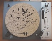 Cork Record Player Slipmat With Laser Etched Flying Birds Design