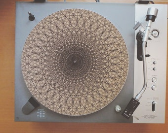 Cork Record Player Slipmat With Laser Etched Mandala