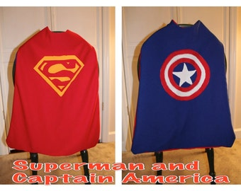 Cape, Superman cape, Captain America cape, kids cape, Reversable Cape