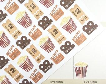 Cinema Planner Stickers, Movie Stickers, Popcorn Stickers, Movie Night Stickers, fits Erin Condren, MAMBI Stickers, Scrapbook Stickers