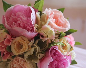 Silk bouquet , Bridal Bouquet ,Wedding Bouquet , Artificial, Garden Rose , Bouquet with Groom 's Boutonniere #No12_001