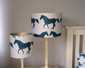 Anorak Kissing Horses Handmade lampshades with Silver or White lining