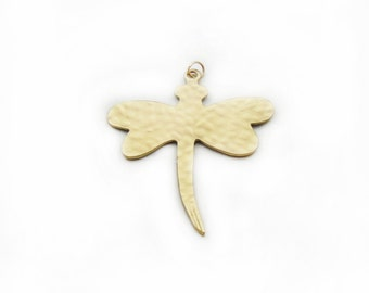 Dragonfly Pendant, Brass Pendant, Large Dragonfly Pendant, Brass Dragonfly Pendant, Craft Supplies, Jewelry Making