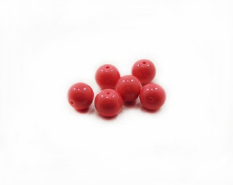 Coral Glass Beads, 12mm Glass Beads, Coral Beads, Glass Beads, 6 pcs Glass Beads, Jewelry Making, Craft Supplies