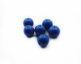 12mm Blue Glass Beads, Glass Beads, Ball Beads, Blue Glass Beads, 6 pcs Glass Beads, Jewerly Making, Craft Supplies, Beading Supplies