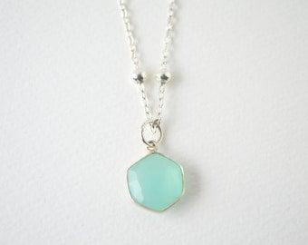 Dainty Aqua Chalcedony silver necklace,Hexagon Chalcedony Necklace Geometrical Hexagonal Necklace,Geometric Sea green chalcedony Necklace