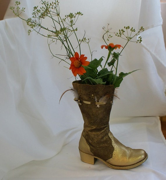 Gold Cowboy Boots Boot Vase Shabby Chic by RusticBucketsSouth