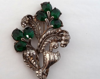 Vintage Large Pot Metal Rhinestone Flower Brooch Emerald Green Foil Backed Stones