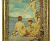 Antique oil painting, Henry Scott Tuke (1858-1929) or follower, Young nude male sea-bathers, canvas, carved wood frame, gay interest