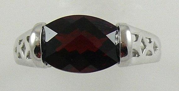 Garnet Ring with 14k White Gold