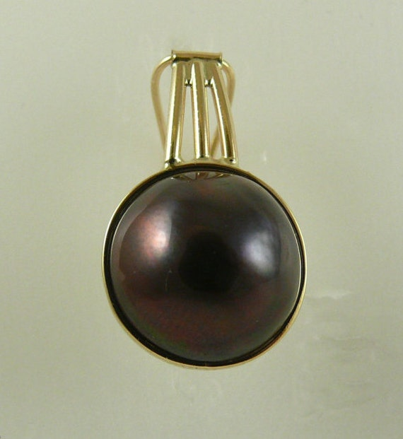 Mabe Black 14.8 mm Pearl Pendant 14k Yellow Gold
