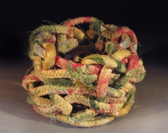 Floral Knotted Fabric Rope Bowl