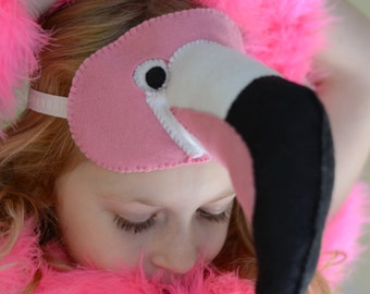Pink Flamingo Mask Costume. Handmade of Pure Wool Felt.