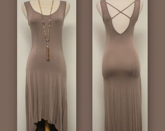 Beige Full Hippoe Boho Hi Low Dress with Sweatheart Neckline in S,M and L size.