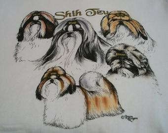 """Shih Tzu T-shirt """" White """" XL ( 46 - 48 )"""