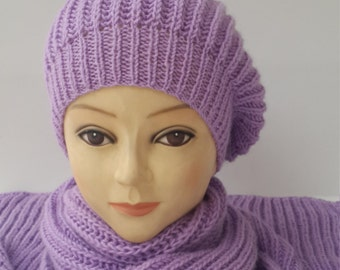 Hat and kerchief,Accessories for the ladies,Hat and scarf,Ladies winter set,Lilac hat and kerchief,Pompom hat and kerchief,Ladies winter set