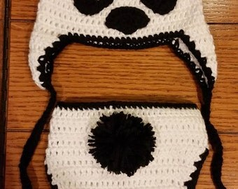 Crocheted baby Panda bear 2 piece set