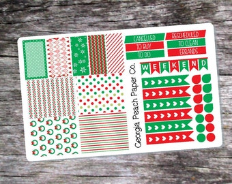 Christmas Wreath- Red and Green Themed Planner Stickers- Made to fit Vertical Layout