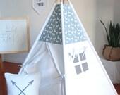 Deer Silhouette Canvas Teepee, Teepee, Play Tent, Kid Teepee, Teepee Tent, Tipi, Playhouse, Canvas Tent, Nursery Decor, Large Teepee