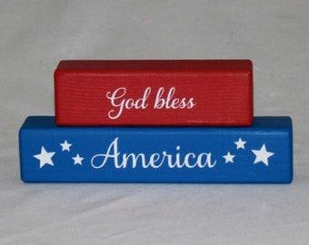 God Bless America Blocks - Patriotic - American - Americana - Wood Blocks - Vinyl Sayings - Wood Sign - Stacked Blocks