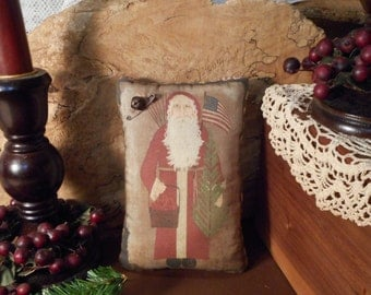 Christmas Pillow Tuck:Santa  Primitive Rustic Americana Pillow Tuck.