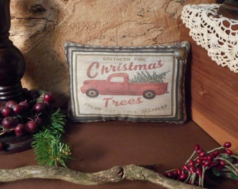 Christmas Pillow Tuck: Christmas Truck Primitive Rustic Americana Pillow Tuck.
