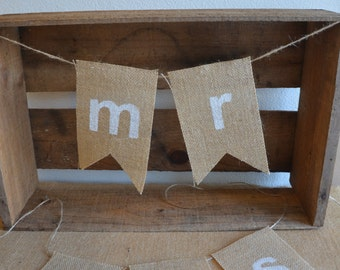 Rustic Wedding Banner - Mr & Mrs Wedding Chair Seat Bunting - Burlap/Hessian Individual Chair Signs