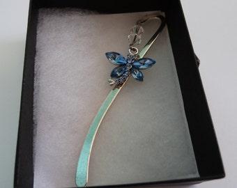 Blue Crystal Dragonfly Bookmark