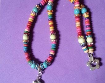 Rainbow coloured turqoise rondelle necklace