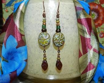 Handmade Bead and Leaf Earrings